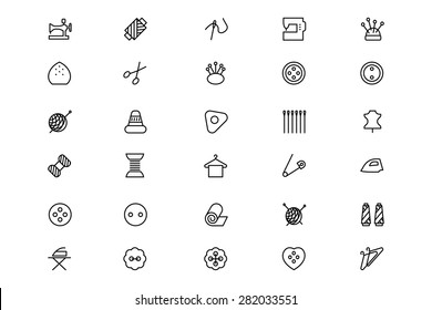Sewing Line Vector Icons 1