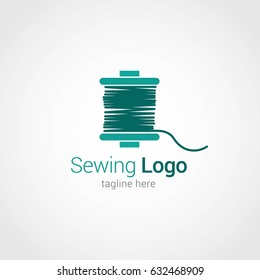 Sewing Logo Design Template. Vector Illustration