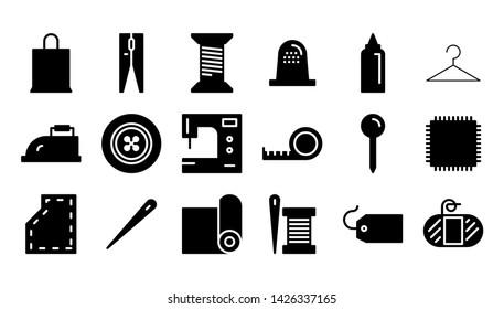 Sewing lyph icon symbol set