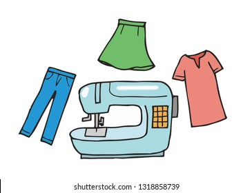 Sewing machine and clothes