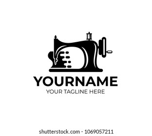 Sewing machine and fast tailoring clothes, logo template. Tailor shop, tailoring craft and textile production, vector design. Fashion and clothes, illustration