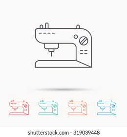 Sewing machine icon. Embroidery sign. Linear icons on white background. Vector