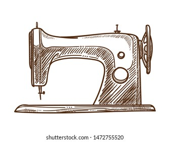 Sewing machine isolated sketch handmade clothes tailor services vector mechanic retro equipment needlework craft shop or store designer garments repairing and creation unique outfits showroom