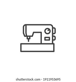 Sewing machine line icon. linear style sign for mobile concept and web design. Electrical sewing machine outline vector icon. Symbol, logo illustration. Vector graphics