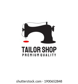 Sewing machine logo design template for tailor shop