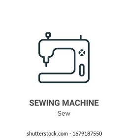 Sewing machine outline vector icon. Thin line black sewing machine icon, flat vector simple element illustration from editable sew concept isolated stroke on white background