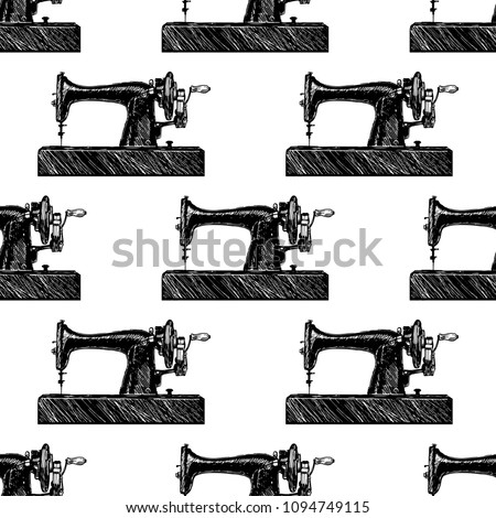 Sewing Machine Pattern Luxury Textiles Paper Stock Vector Royalty Impressive Sewing Machine Wallpaper