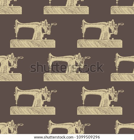 Sewing Machine Pattern Luxury Textiles Paper Stock Vector Royalty Simple Sewing Machine Wallpaper