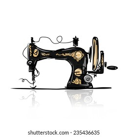 Sewing machine retro sketch for your design, vector illustration
