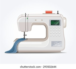 Sewing machine. Vector flat illustration