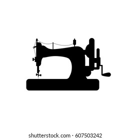 Sewing machine vector icon. Black on white