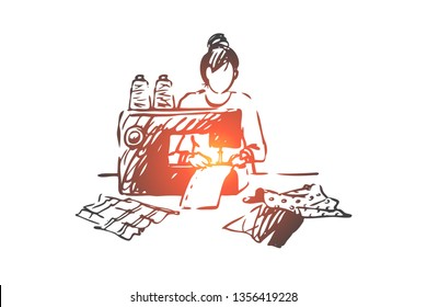 Sewing machine, woman, fabric, textile, clothing concept. Hand drawn woman sews on a sewing machine concept sketch. Isolated vector illustration.