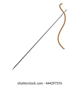 sewing needle with brown thread vector illustration