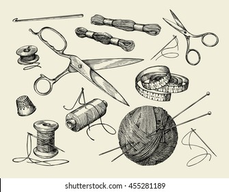 Sewing notions. Hand drawn thread, needle, scissors, ball of yarn, knitting needles, crochet. Vector illustration