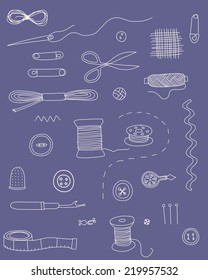 Sewing notions, hand drawn vector icons