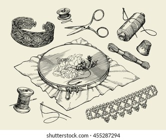 Sewing notions, macrame. Hand drawn embroidery hoop, thread, needle, thimble, beading, beadwork, needlework. Vector illustration