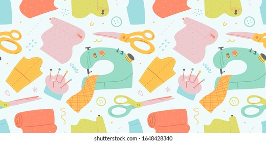 Sewing pattern, seamless vector background with sewing tools, sewing machine, scissors and fabric rolls, trendy flat hand drawn illustration, repeat backdrop for tailor shop or workshop, pastel color