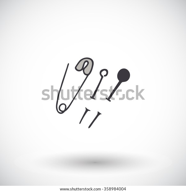Sewing pins sketch. Hand-drawn cartoon tailor icon isolated on the background. Doodle drawing. Vector illustration.