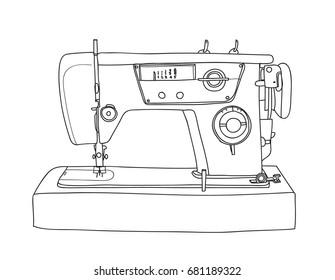 Sewing  Retro Machine cute vintage hand drawn vector line art illustration