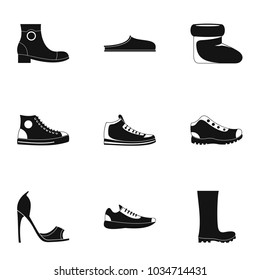 Sewing shoes icons set. Simple set of 9 sewing shoes vector icons for web isolated on white background