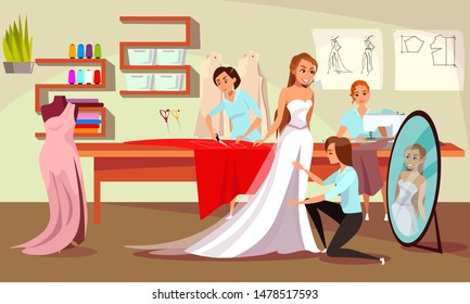 Sewing studio, atelier flat vector illustration. Young bride, tailor and dressmakers cartoon characters. Wedding dress fitting process, professional tailoring workshop. Clothes designer workplace