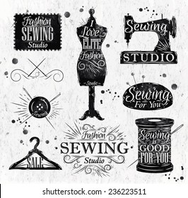 Sewing symbol in retro vintage style  lettering mannequin, coil, pins, hangers, buttons
