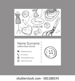 Sewing tailor concept. Business card. Vector template.