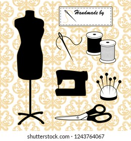 Sewing and tailoring, fashion model mannequin, do it yourself tools, sewing machine, Handmade by... sewing label, needle, thread, pins, pincushion, scissors, gold Damask background.