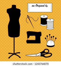 Sewing and tailoring, fashion model mannequin, Do it yourself tools, sewing machine, An Original by... sewing label, needle, thread, pins, pincushion, scissors. Polka dots on gold background..
