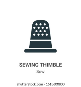 Sewing thimble glyph icon vector on white background. Flat vector sewing thimble icon symbol sign from modern sew collection for mobile concept and web apps design.