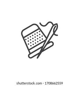 Sewing thimble and needle line icon. linear style sign for mobile concept and web design. Thimble for finger outline vector icon. Symbol, logo illustration. Vector graphics