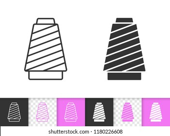 Sewing thread black linear and silhouette icons. Thin line sign of spool. Yarn outline pictogram isolated on white, transparent background. Vector Icon shape. Sewing accessories simple symbol closeup
