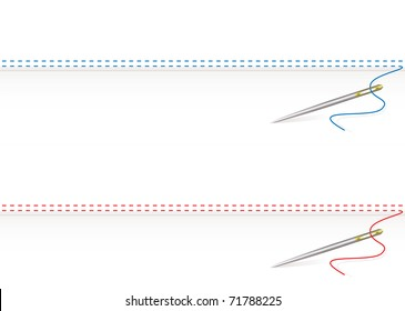 Sewing thread border on white material background and needle