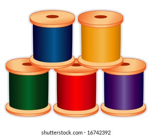 Sewing Thread, primary colors, wood spools for sewing, fashion, tailoring, dressmaking, quilting, needlework, textile arts, homemade, handmade craft, DIY hobbies. Isolated on white. EPS8 compatible.