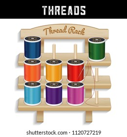 Sewing Thread Wood Rack, three shelves pine wood, engraved text, silver needle, multi color spools of thread, for sewing, tailoring, quilting, crafts, embroidery, do it yourself stitching.