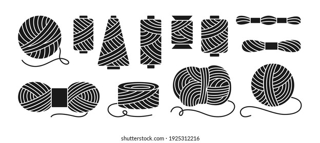 Sewing threads or yarn black glyph set. Spool and bobbin outline. Dressmaking needlework tools. Dressmaking, sewing workshop, tailoring hobby knitting, weaving wool. Isolated vector illustration