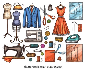 Sewing tool and tailor equipment sketch for atelier or fashion workshop design. Sewing machine, needle and scissors, thread, button and pin, mannequin, fabric, and spool, dress, suit and pattern icon