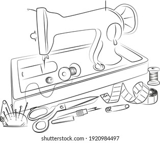 sewing tools, sewing machine. hand tools