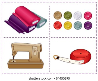 Sewing Tools, Sewing machine, tape measure, bolts of fabric, buttons in Pantone fashion colors, for tailoring, dressmaking, DIY handmade crafts, hobbies. Stitch frame border. EPS8 compatible.