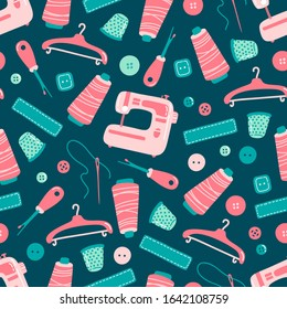 Sewing tools seamless pattern on dark background. Hand drawn flat cartoon vector illustration. Hand craft, tailor shop, hobby concept. Textile, wrapping, paper, brochure, magazine, design.