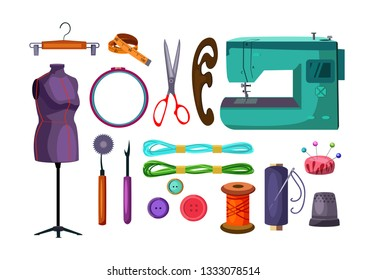 Sewing tools set. Collection for tailoring and dressmaking. Can be used for topics like needlecraft, clothing repair, occupation