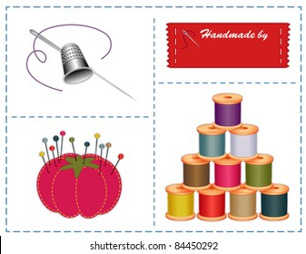 Sewing Tools. Silver thimble, needle, sewing label with copy space for name, strawberry pin cushion, thread spools, do it yourself fashion projects, tailoring, needlework, quilting. EPS8 compatible.