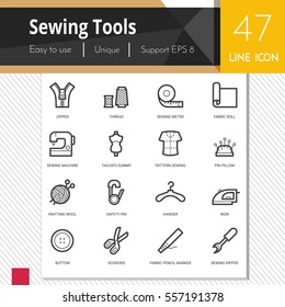 Sewing tools vector icons set on white background.  Premium quality outline symbol  collection. Stroke vector logo concept, web graphics.