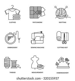 Sewing vector icons set modern line style