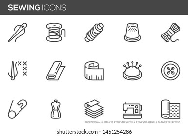 Sewing vector line icons set. Needlework, stitching, sewing machine, measuring tape, wool. Editable stroke. Perfect pixel icons, such can be scaled to 24, 48, 96 pixels.