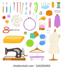 Sewing vector tailor tools sew needle thread scissors fabric spool design for tailoring hobby illustration fashion set of sewer needlework dressmaking accessories isolated on white background