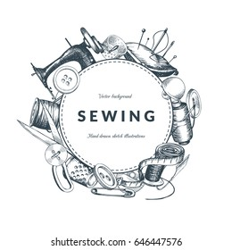 """""""Sewing"""" vintage background with place for your text. Hand-drawn sketches composition. Eps01 vector."""