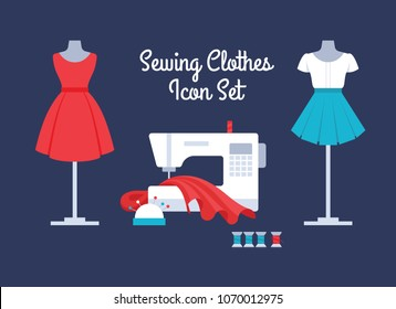 Sewing women's clothes vector set: red dress, white top and short blue pleated skirt. Sewing machine in atelier with cloth, colorful threads and pins in needle bar. Flat icons of apparel.