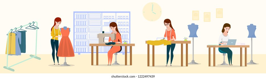 Sewing workshop. Tailor or dressmaker profession vector people, cartoon style vector illustration