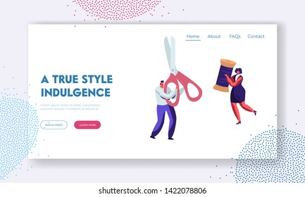 Sewing Workshop, Tailor or Dressmaker Profession Website Landing Page, Man with Scissors and Woman with Skein Thread, Textile Clothing Manufacturing Web Page. Cartoon Flat Vector Illustration, Banner